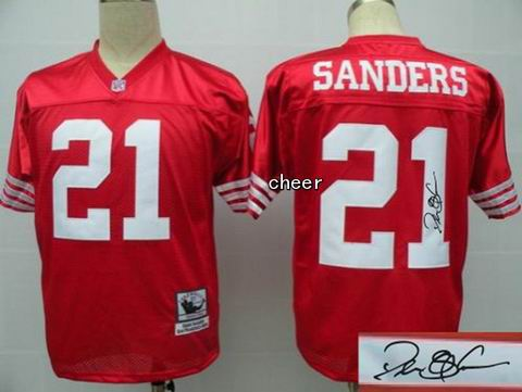 nfl San Francisco 49ers 21 sanders red throwback jersey Autograped
