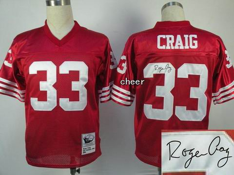 nfl San Francisco 49ers 33 Craig red throwback jersey Autograped