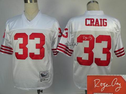 nfl San Francisco 49ers 33 Craig white throwback jersey Autograped