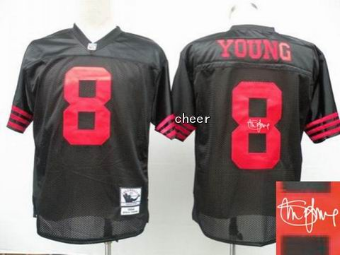 nfl San Francisco 49ers 8 Young black throwback jersey Autograped