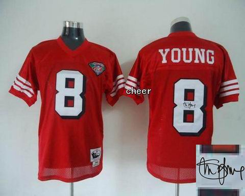 nfl San Francisco 49ers 8 Young red throwback jersey Autograped 75th