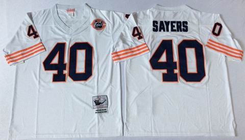 nfl chicago bears #40 sayers white throwback jersey