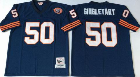 nfl chicago bears #50 Singletary blue throwback jersey