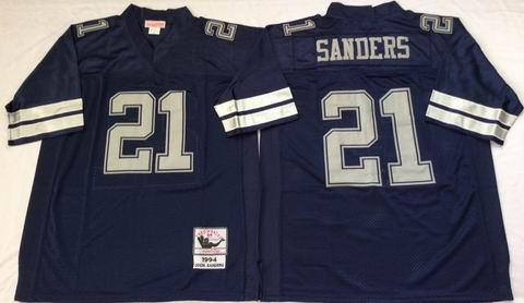 nfl dallas cowboys #21 Sanders blue throwback jersey