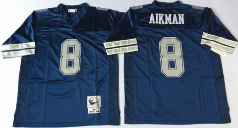 nfl dallas cowboys #8 Aikman blue throwback jersey