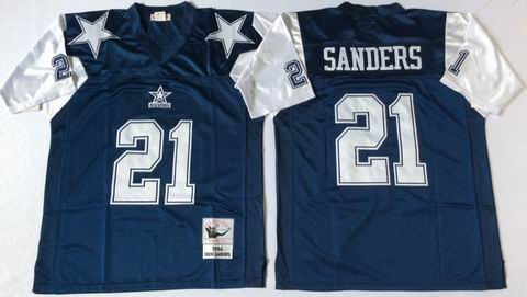 nfl dallas cowboys 21 Sanders blue throwback jersey