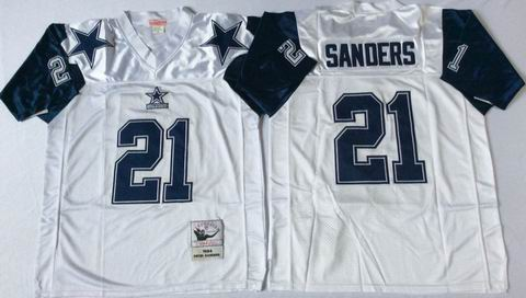 nfl dallas cowboys 21 Sanders white throwback jersey