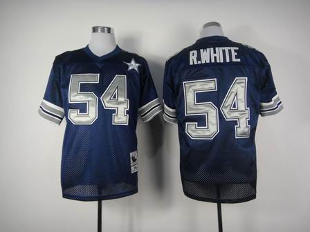 nfl dallas cowboys 54 R.White blue throwback jersey