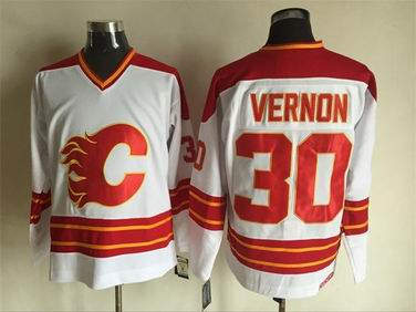 nhl calgary flames #30 Vernon white jersey