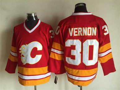 nhl calgary flames #30 vernon red jersey