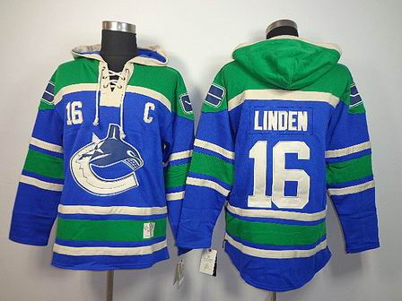 nhl vancouver canucks 16 Linden blue Hoodies Jersey