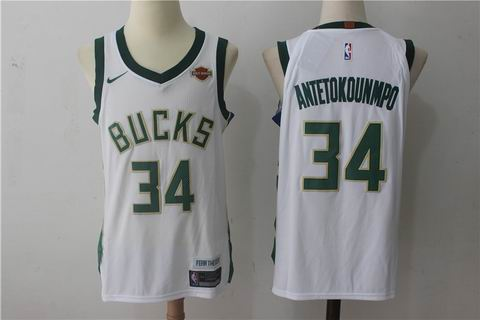 nike NBA Milwaukee Bucks #34 Antetokounmpo white jersey