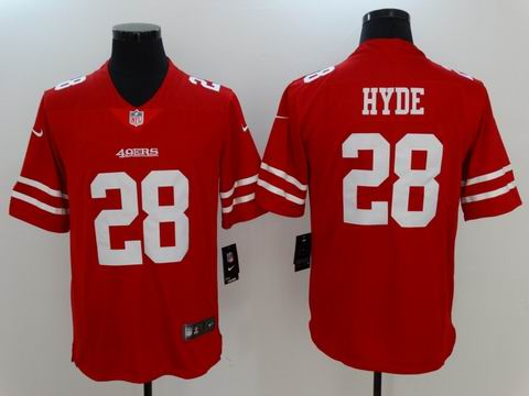 nike nfl 49ers #28 Hyde red Vapor Untouchable limited jersey