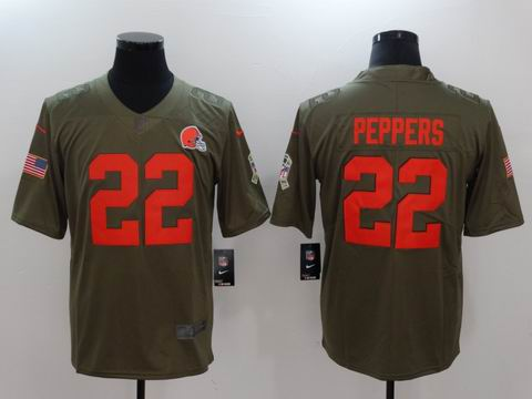 nike nfl Browns #22 Peppers Olive Salute To Service Limited Jersey