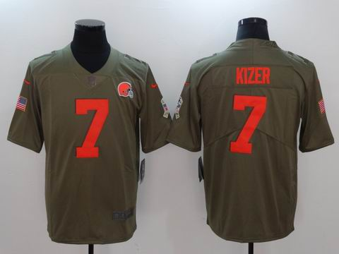 nike nfl Browns #7 KIZER Olive Salute To Service Limited Jersey