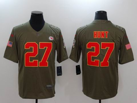 nike nfl Chiefs #27 HUNT Olive Salute To Service Limited Jersey