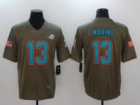 nike nfl Dolphins #13 Marino Olive Salute To Service Limited Jersey