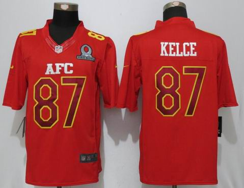 nike nfl Kansas City Chiefs 87 Kelce Red 2017 Pro Bowl Limited Jersey