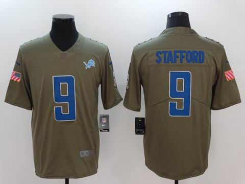 nike nfl Lions #9 Stafford Olive Salute To Service Limited Jersey