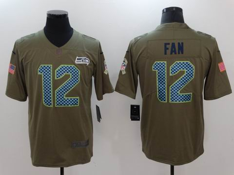 nike nfl Seahawks #12 FAN Olive Salute To Service Limited Jersey