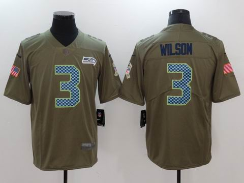 nike nfl Seahawks #3 Wilson Olive Salute To Service Limited Jersey