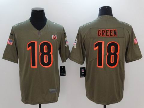 nike nfl bengals #18 Green Olive Salute To Service Limited Jersey