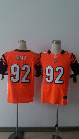 nike nfl bengals 92 Sims orange elite jersey