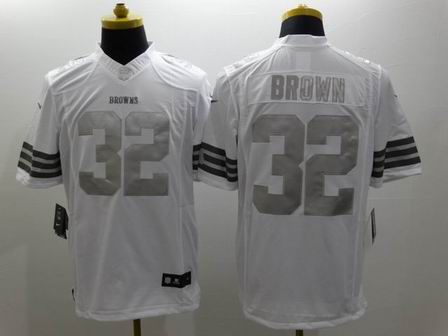 nike nfl browns 32 Brown white Platinum Limited Jersey