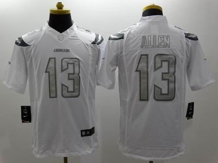 nike nfl chargers 13 Allen white Platinum Limited Jersey