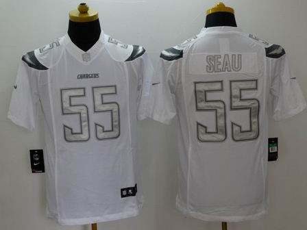 nike nfl chargers 55 Seau white Platinum Limited Jersey
