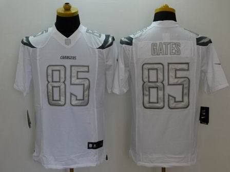nike nfl chargers 85 Gates white Platinum Limited Jersey