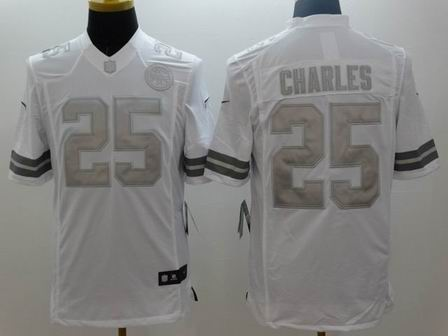 nike nfl chiefs 25 Charles white Platinum Limited Jersey