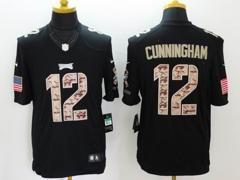 nike nfl eagles #12 Cunningham Black Salute TO Service Jersey