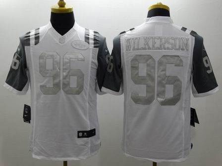 nike nfl jets 96 Wilkerson white Platinum Limited Jersey
