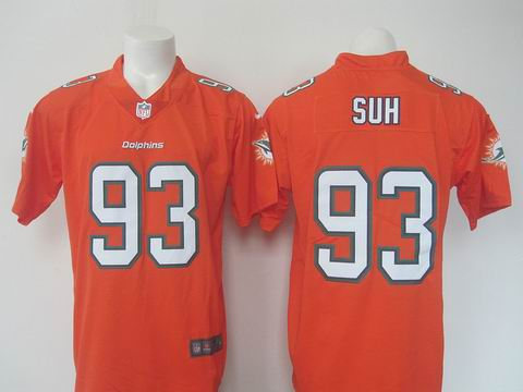 nike nfl miami dolphins #93 SUH orange rush limited jersey