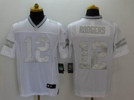 nike nfl packers 12 Rodgers white Platinum Limited Jersey
