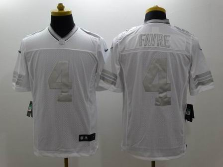 nike nfl packers 4 Favre white Platinum Limited Jersey