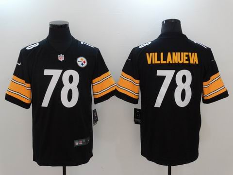 nike nfl pittsburgh steelers #78 VILLANUEVA black elite jersey