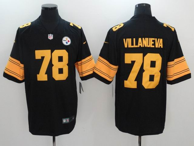 nike nfl pittsburgh steelers #78 VILLANUEVA black jersey