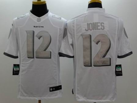 nike nfl ravens 12 Jones white Platinum Limited Jersey
