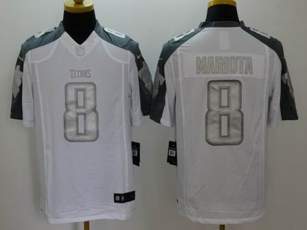 nike nfl titans 8 Mariota white Platinum Limited Jersey