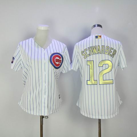 women MLB Cubs #12 Schwarber white 2016 Champions jersey
