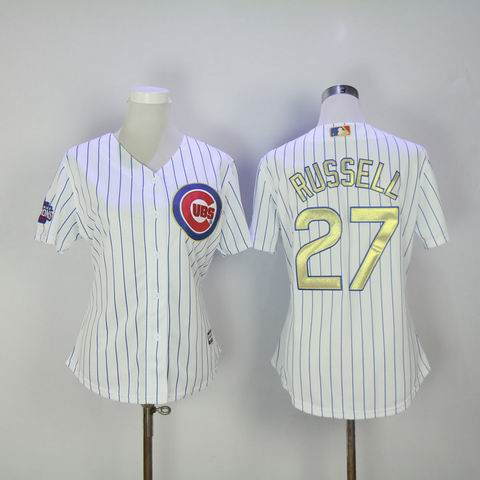 women MLB Cubs #27 Russell white 2016 Champions jersey