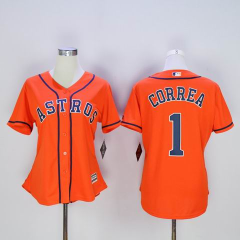 women MLB Houston Astros 1 Correa orange jersey
