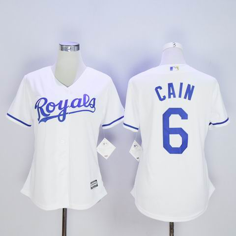 women MLB Royals #6 Cain white jersey