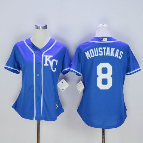 women MLB Royals 8 Moustakas blue jersey