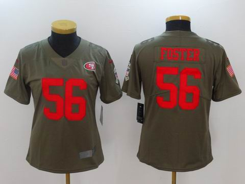 women Nike nfl 49ers #56 Foster Olive Salute To Service Limited Jersey