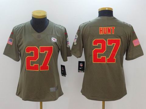 women Nike nfl Chiefs #27 HUNT Olive Salute To Service Limited Jersey