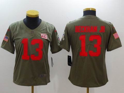 women Nike nfl Giants #13 Beckham Jr Olive Salute To Service Limited Jersey