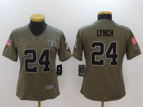 women Nike nfl Raiders #24 Lynch Olive Salute To Service Limited Jersey